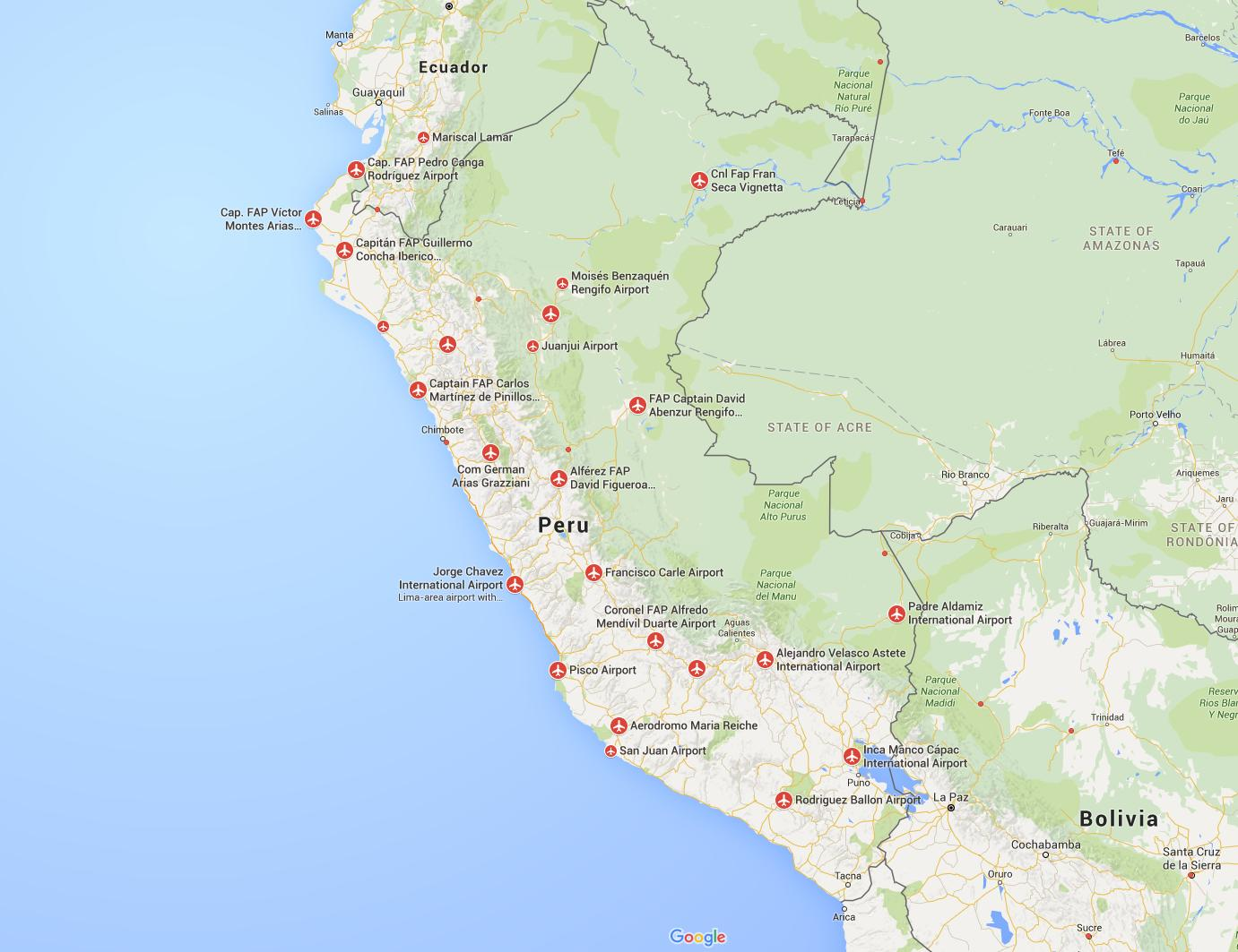 Airports In Peru Map.Peru Airports Map Airports In Peru Map South America Americas