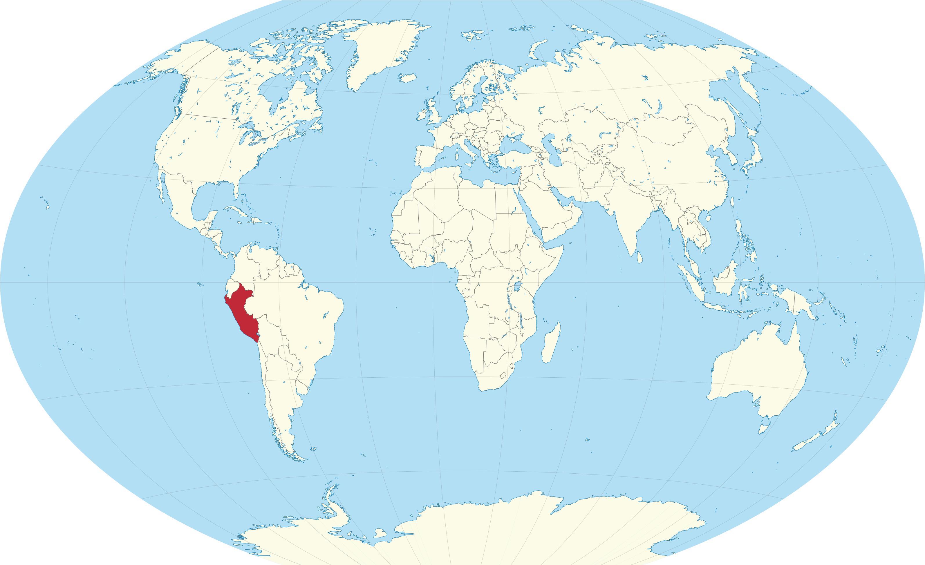 Peru on world map - World map showing Peru (South America - Americas)