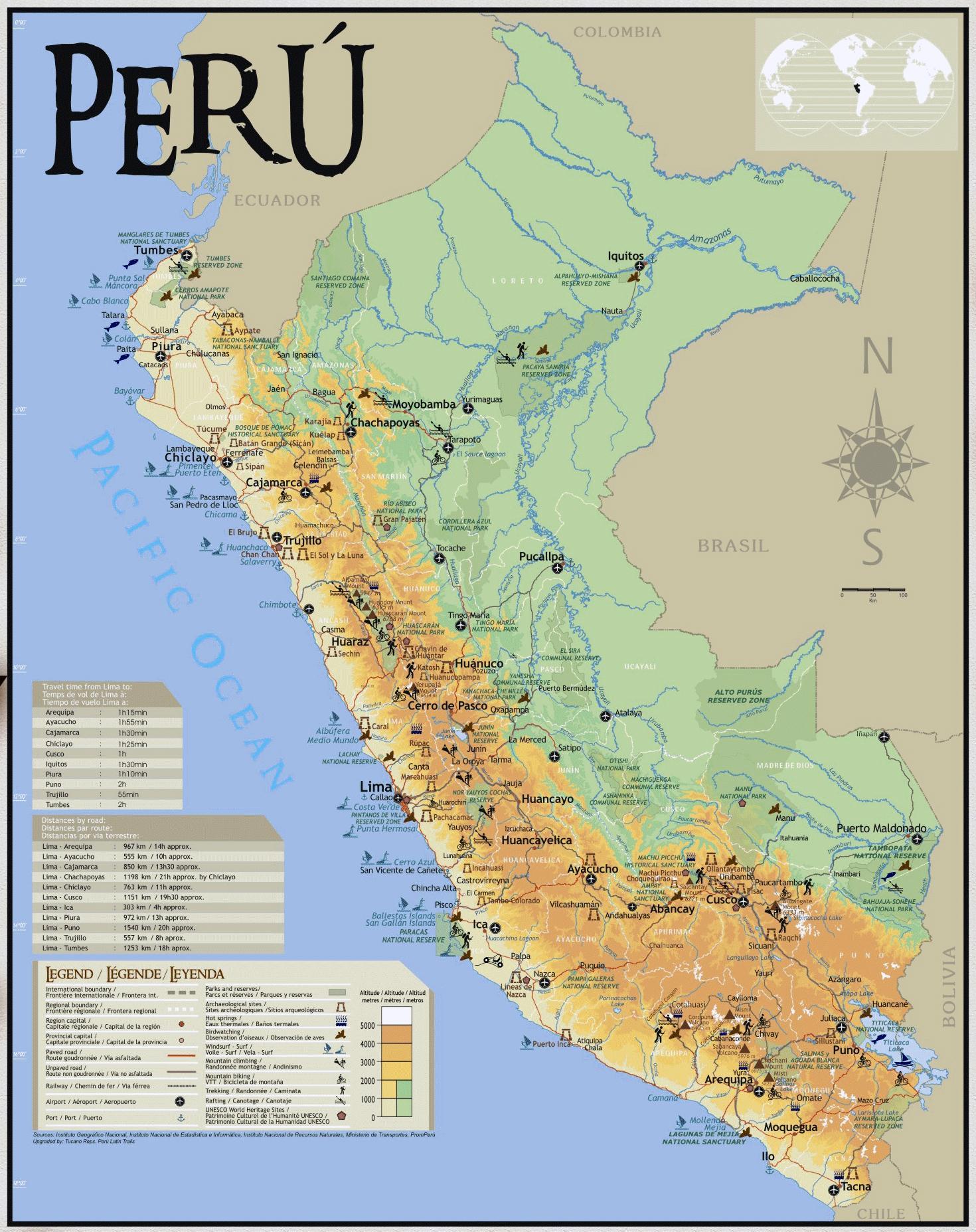 Peru travel map - Map of Peru travel (South America - Americas)