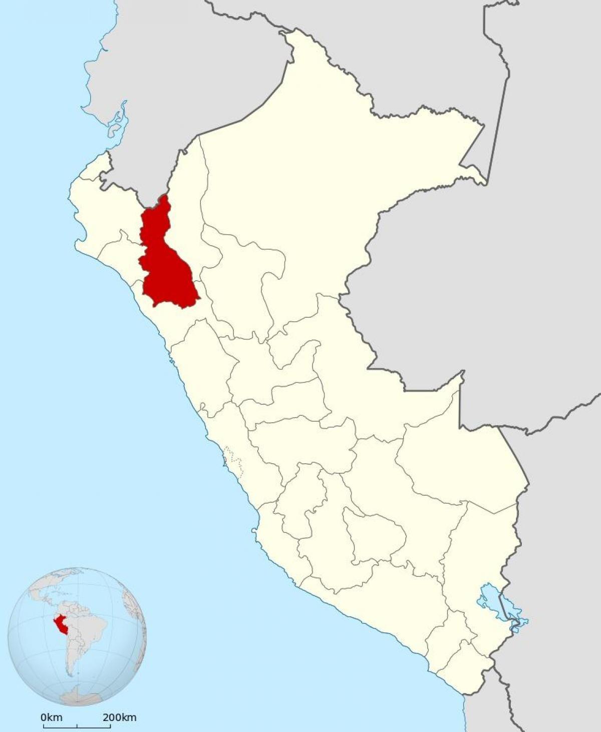 Cajamarca Peru map   Map of cajamarca Peru (South America   Americas)