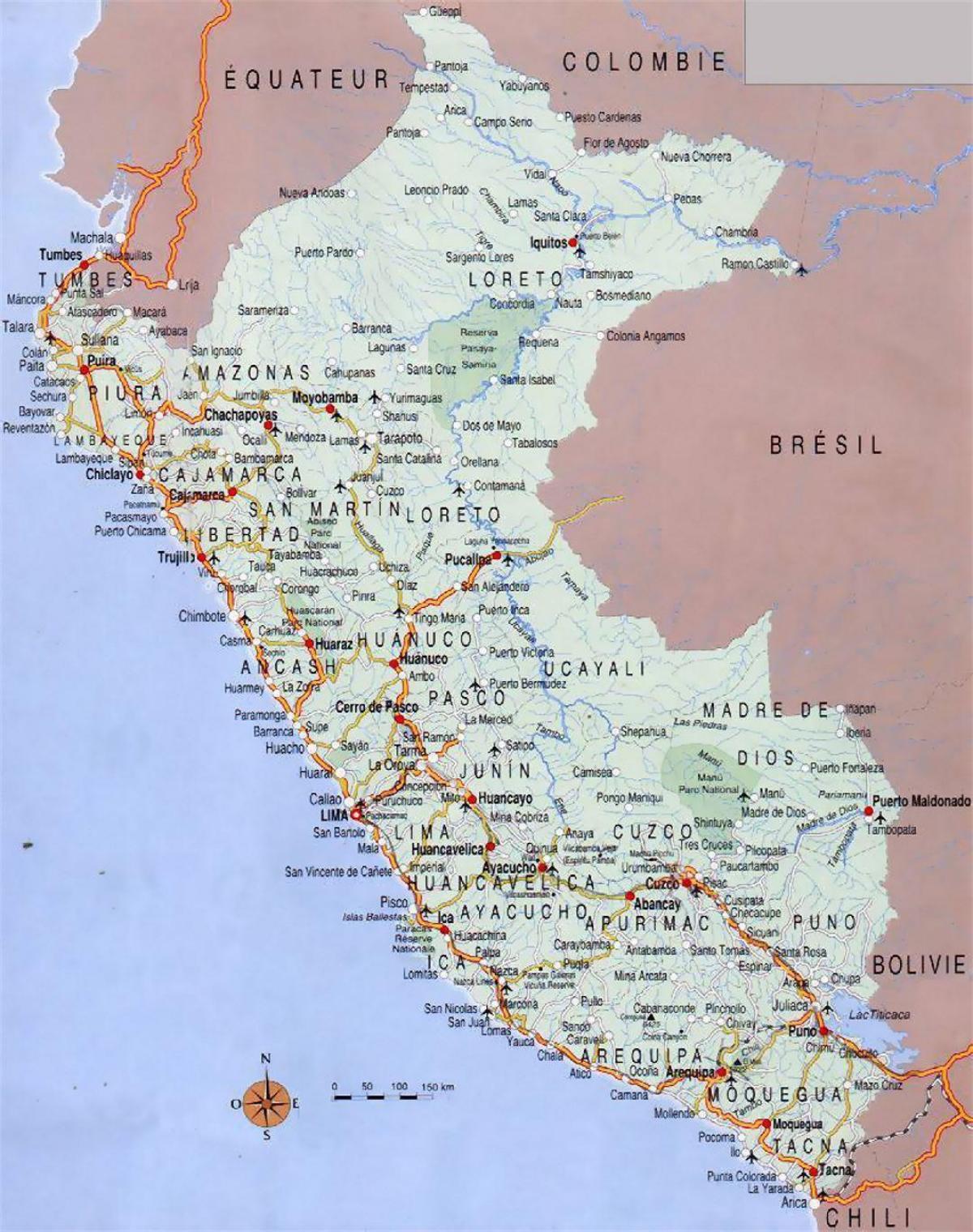 Peru cities map - Map of Peru cities (South America - Americas)