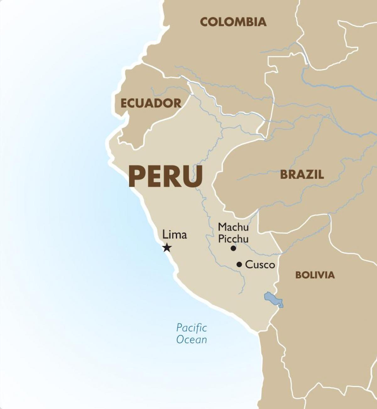 map of Peru and surrounding countries
