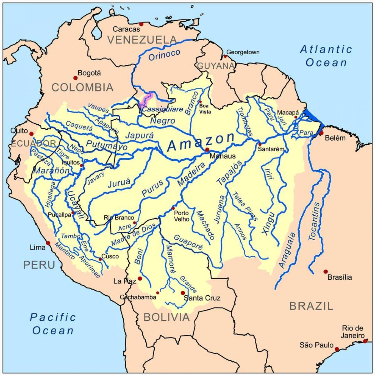 Peru river map - Rivers in Peru map (South America - Americas)