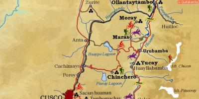 Map of sacred valley cusco Peru